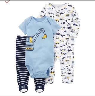 *3M* BN Carter's 3-Piece Construction Sleep and Play Set For Baby Boy