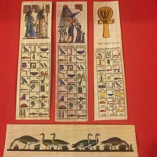 Egyptian bookmarks printed on real papyrus