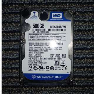 Hard Disk Laptop WD 500 GB