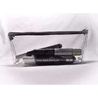 clear triangular pencil case