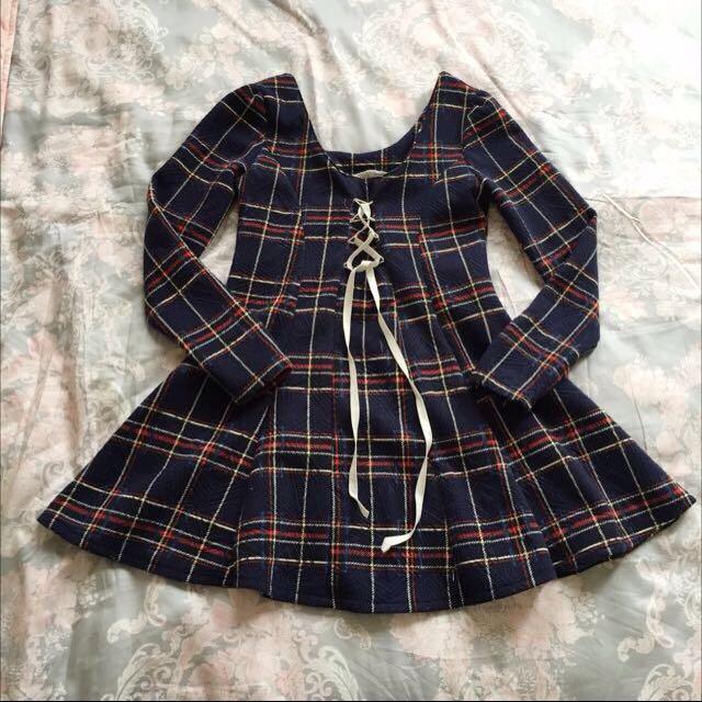 韓國🇰🇷購買格子綁帶洋裝