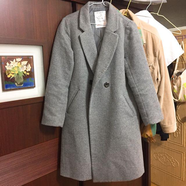 日牌 灰色大衣外套 長版