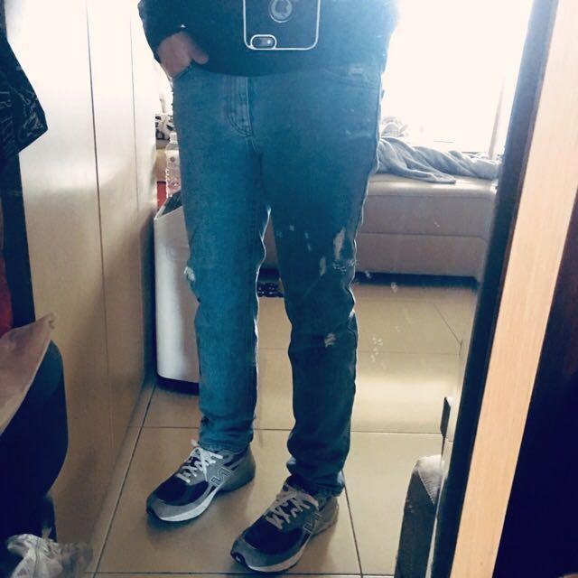 全新 正韓製 復古藍 水洗破壞牛仔褲 約30腰適穿