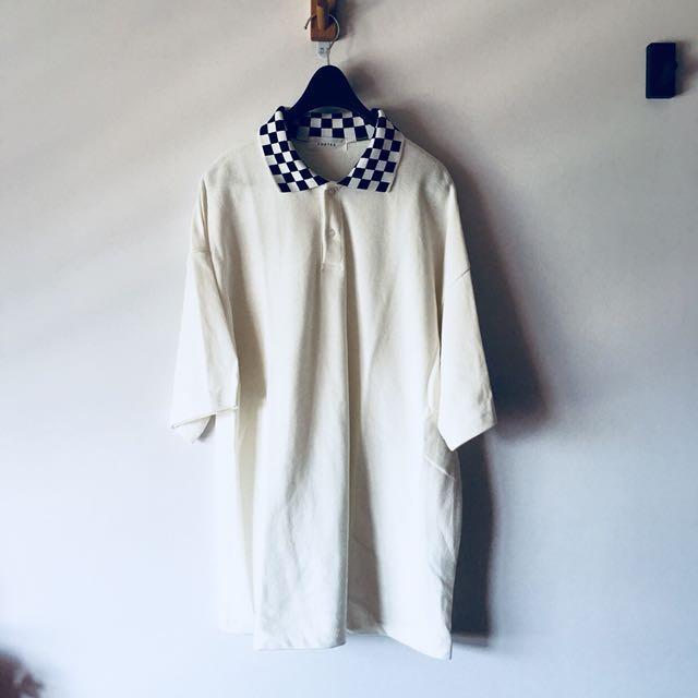 全新 正韓版 格子領polo衫 oversize 古著 超好搭