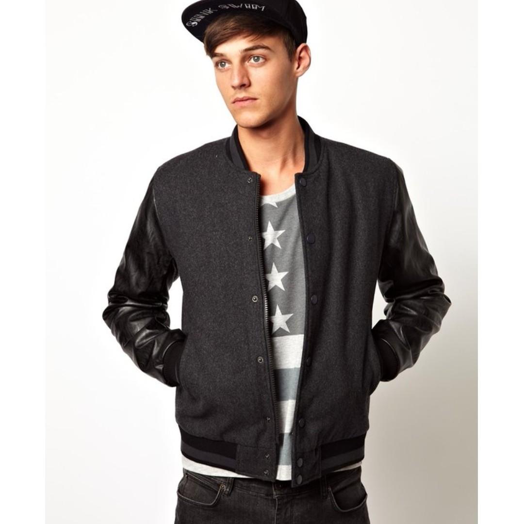 英國 ASOS 羊毛 黑色 深灰色 百搭 棒球外套 拼接 皮衣 Leather Jacket superdry CK