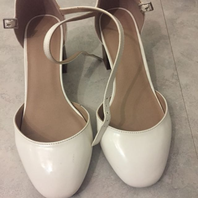 Asos white wide fitting shoes as new