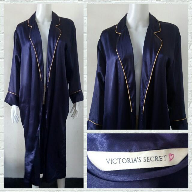 Authentic Victoria's Secret Indigo Satin Robe