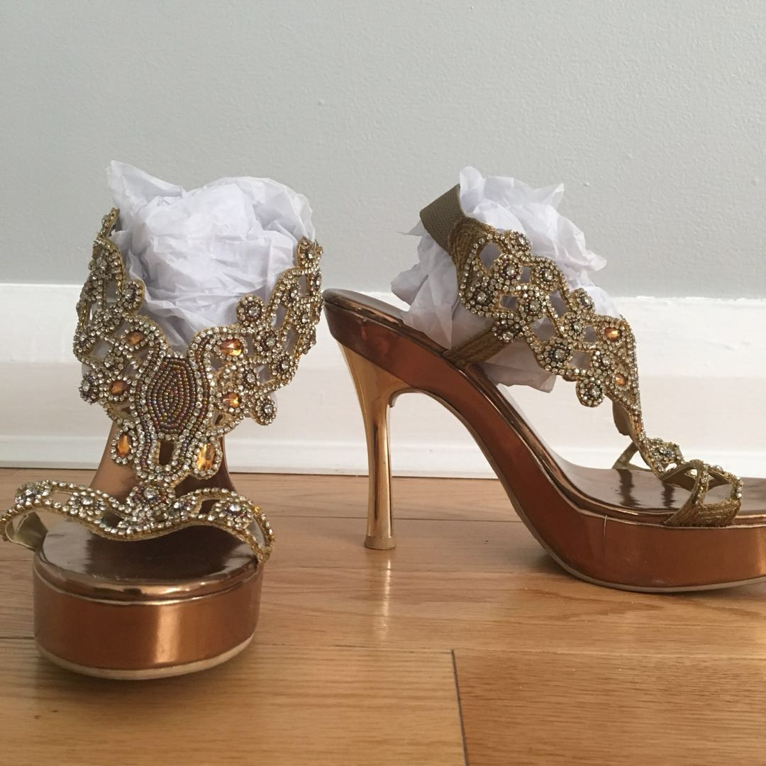 Bejeweled gold heels size 9 worn twice