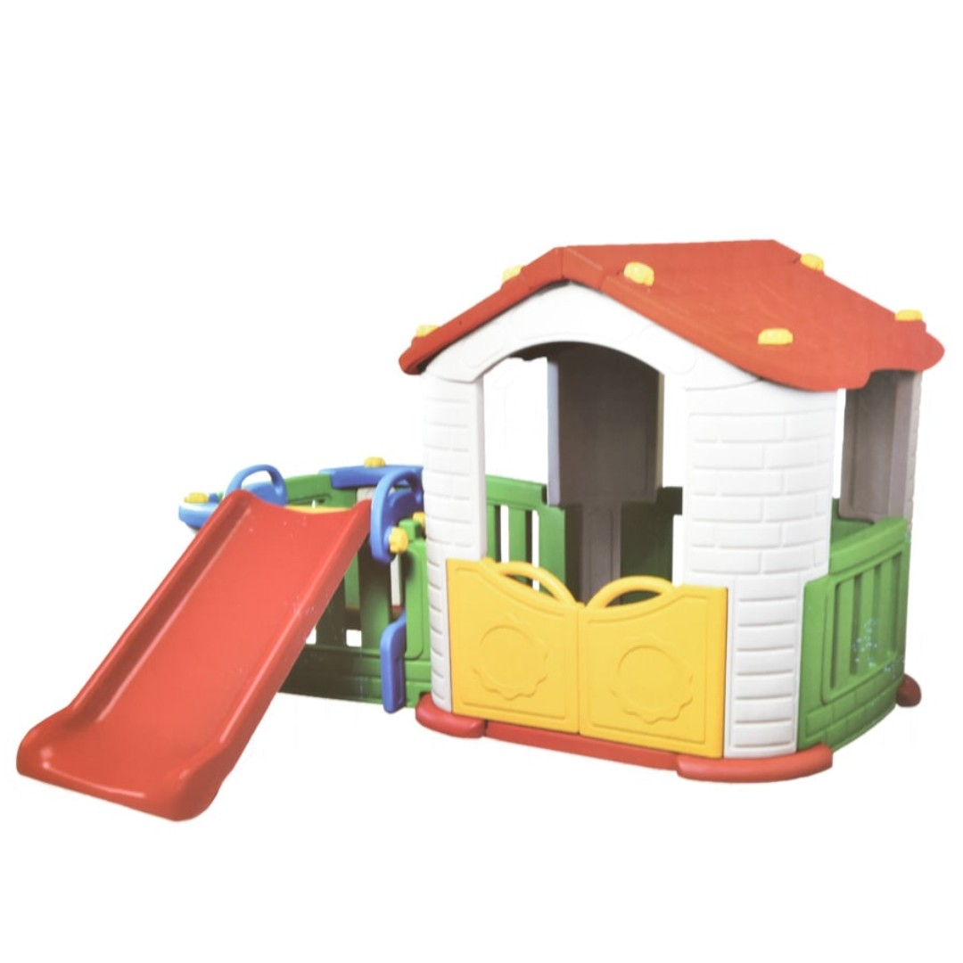 BIG HAPPY PLAYHOUSE WITH SLIDE. Warna : Mix. Berat : 25kg.
