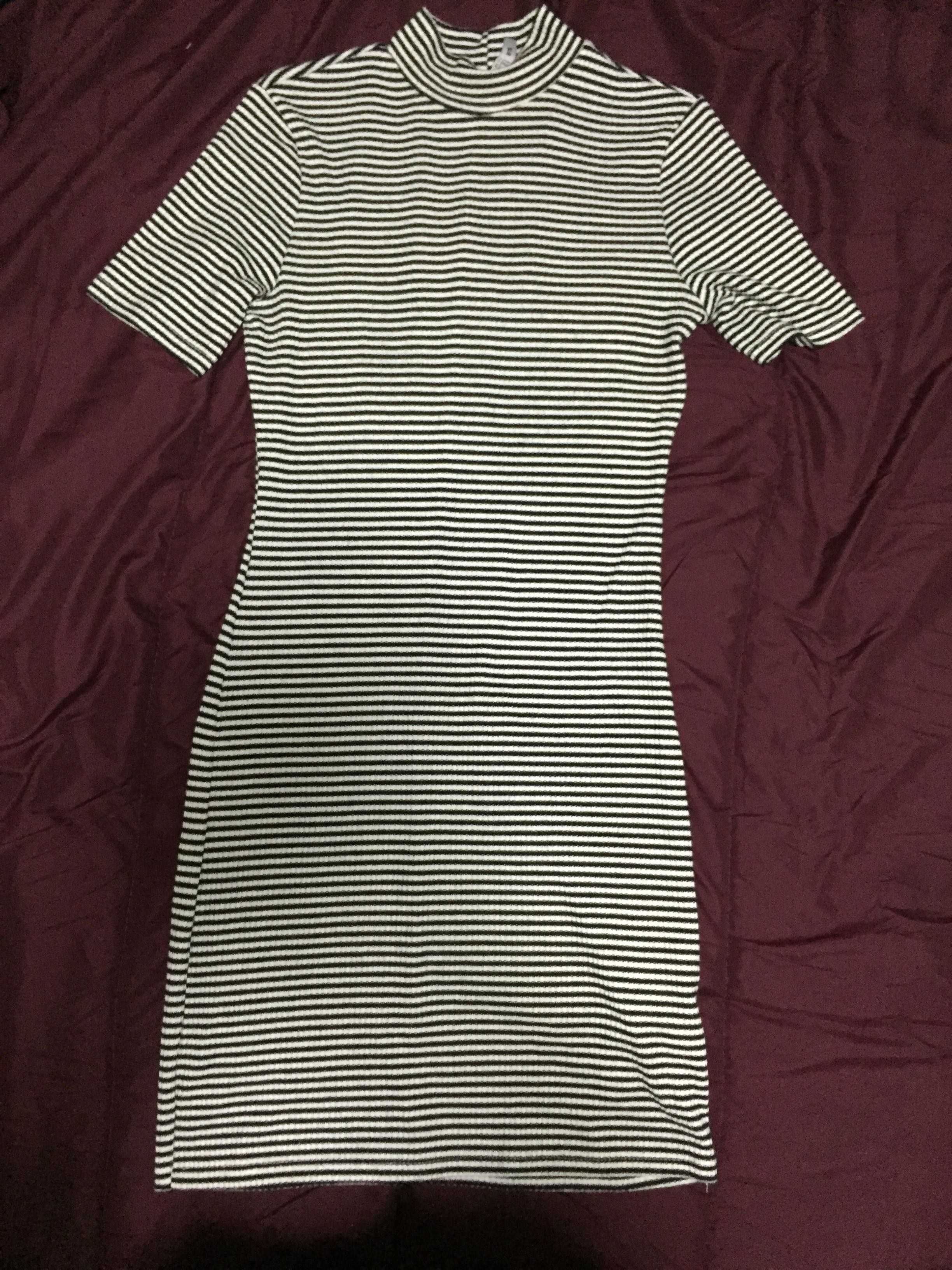 Black and Grey Striped Cotton On Dress