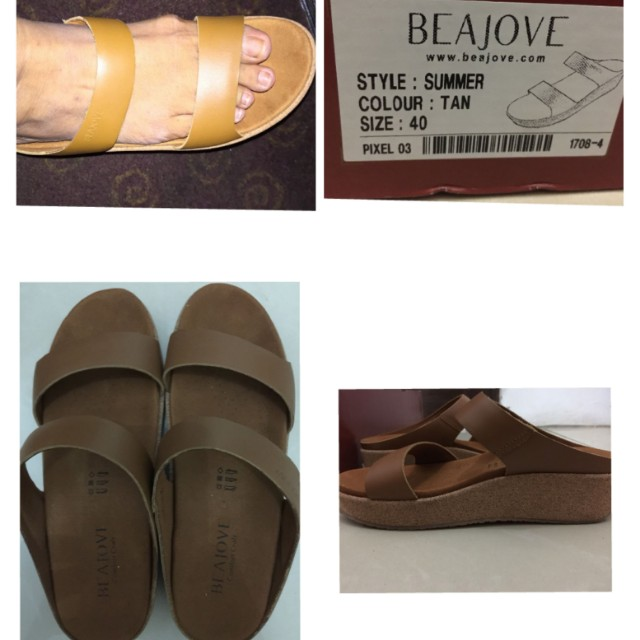 Brand new beajove leather wedges sandals