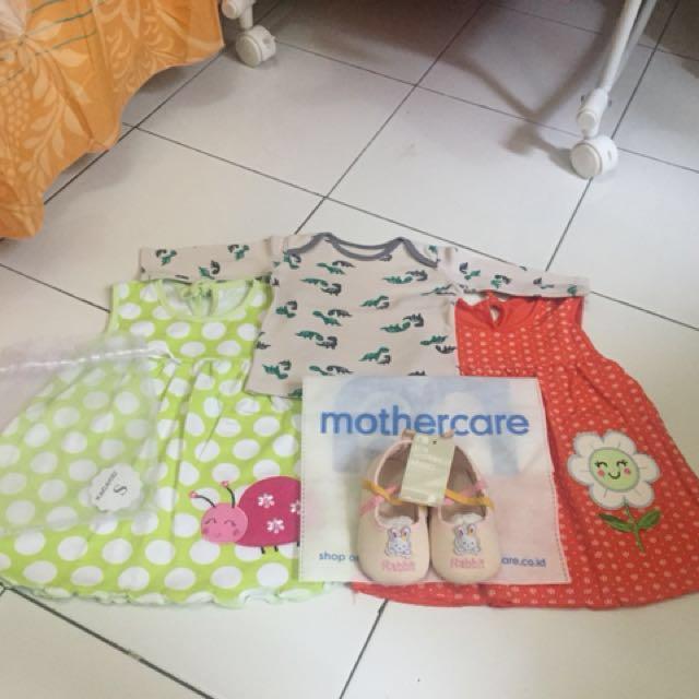 Bundling Prewalker Mothercare New+2 Dress Santai New+1 Atasan Preloved (Free Ongkir Jabodetabek)