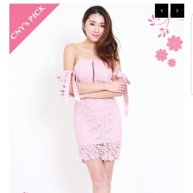 fa50b8a21 Carrislabelle - Ribbon Sleeve Crochet Dress (Pink)🎀