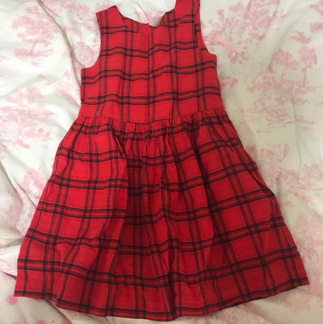Carter's紅色格子背心洋裝4T