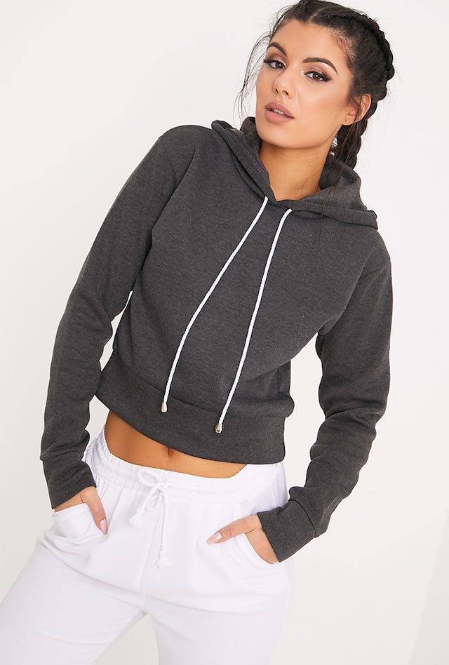 Charcoal Cropped Hoodie 6-8