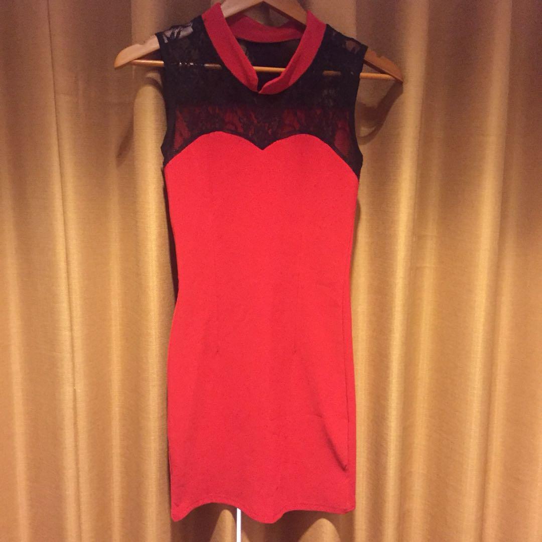 Cheongsome red dress
