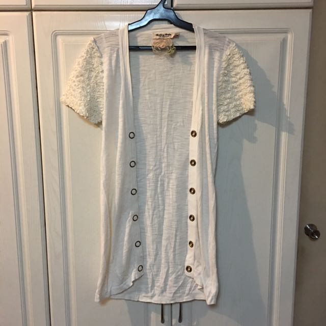 Classic White Short Sleeved Cardigan Top