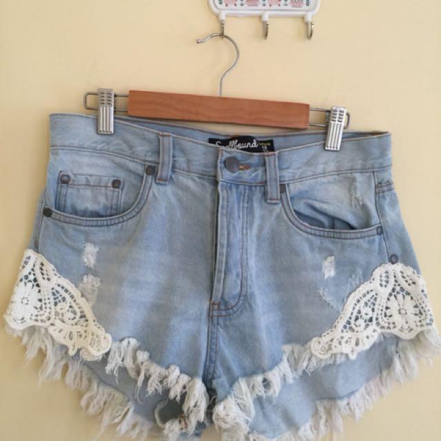 Denim/Lace Shorts