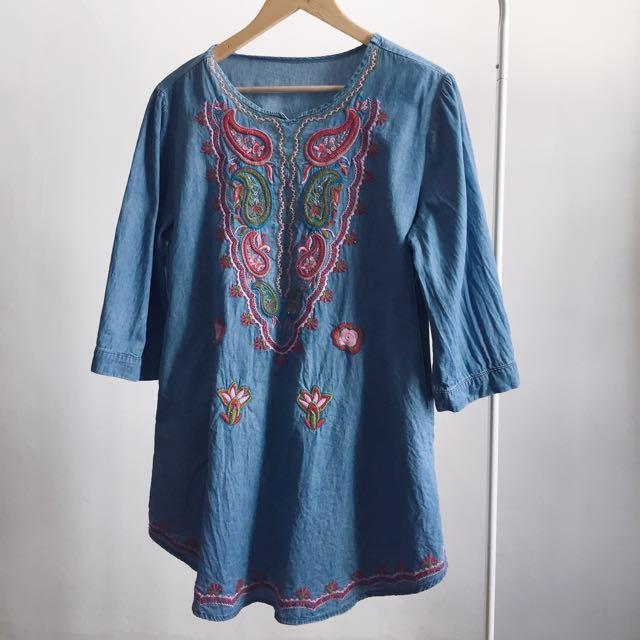 embroidered denim mini dress