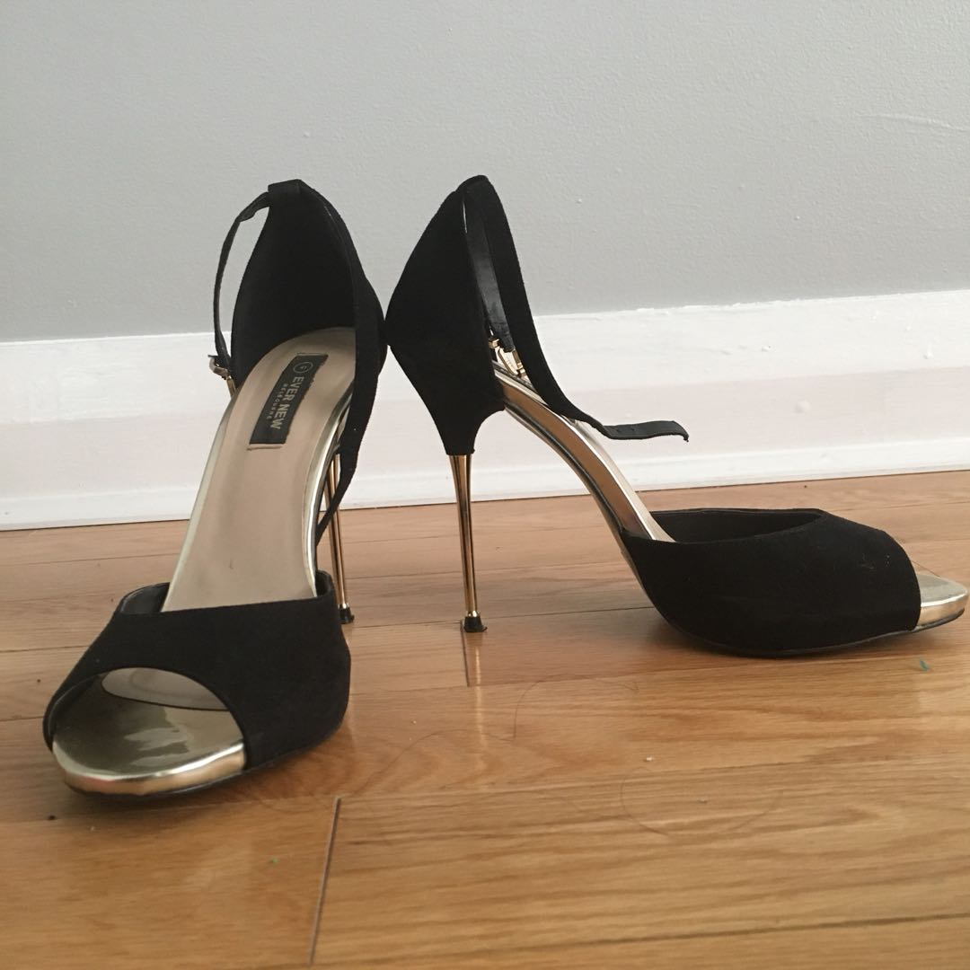 Ever New Black and Gold heels size 41