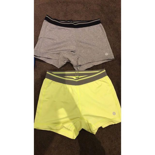 Exercise shorts x 2