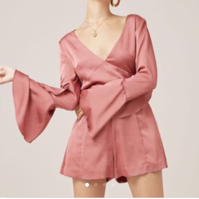 New Finders keepers season bell-sleeve romper soft mauve