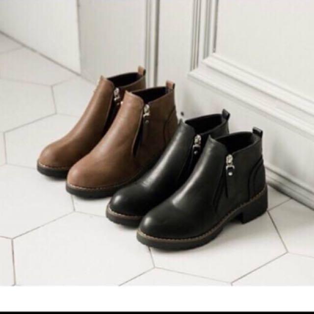 轉賣FM.Shoes 後縫線感皮質雙拉鍊式短靴(黑色)