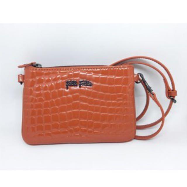 Folli Follie 橙色鱷魚皮手拿包