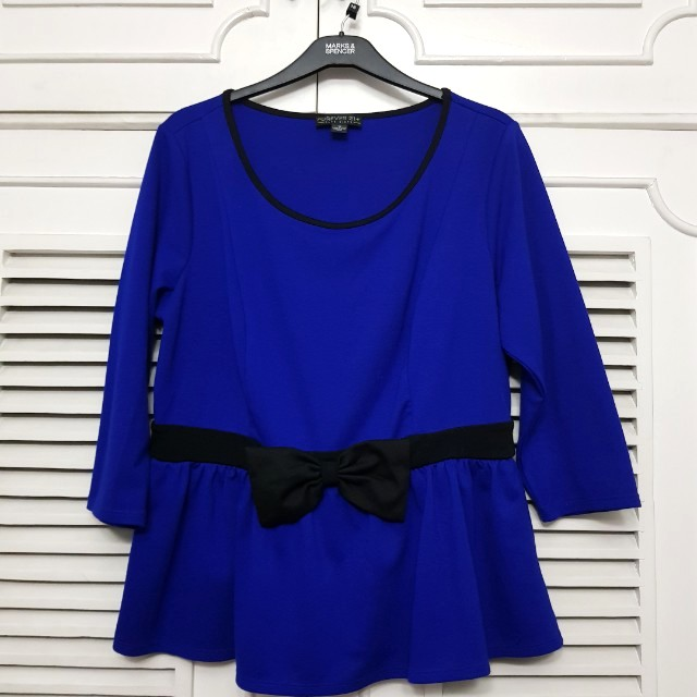 Forever 21 Plus Size 1X Blue Peplum Top