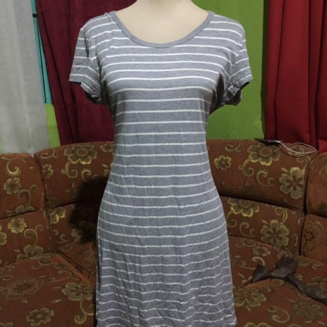 Gray and white stripes dress