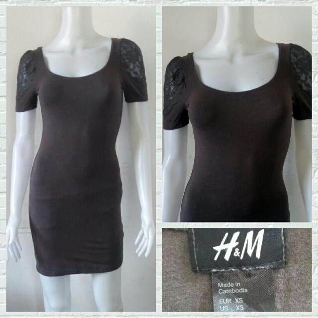 H&M Brown Bodycon Dress With Lace Details