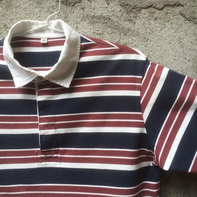 Kaos Polo Shirt Uniqlo Stripe Maroon