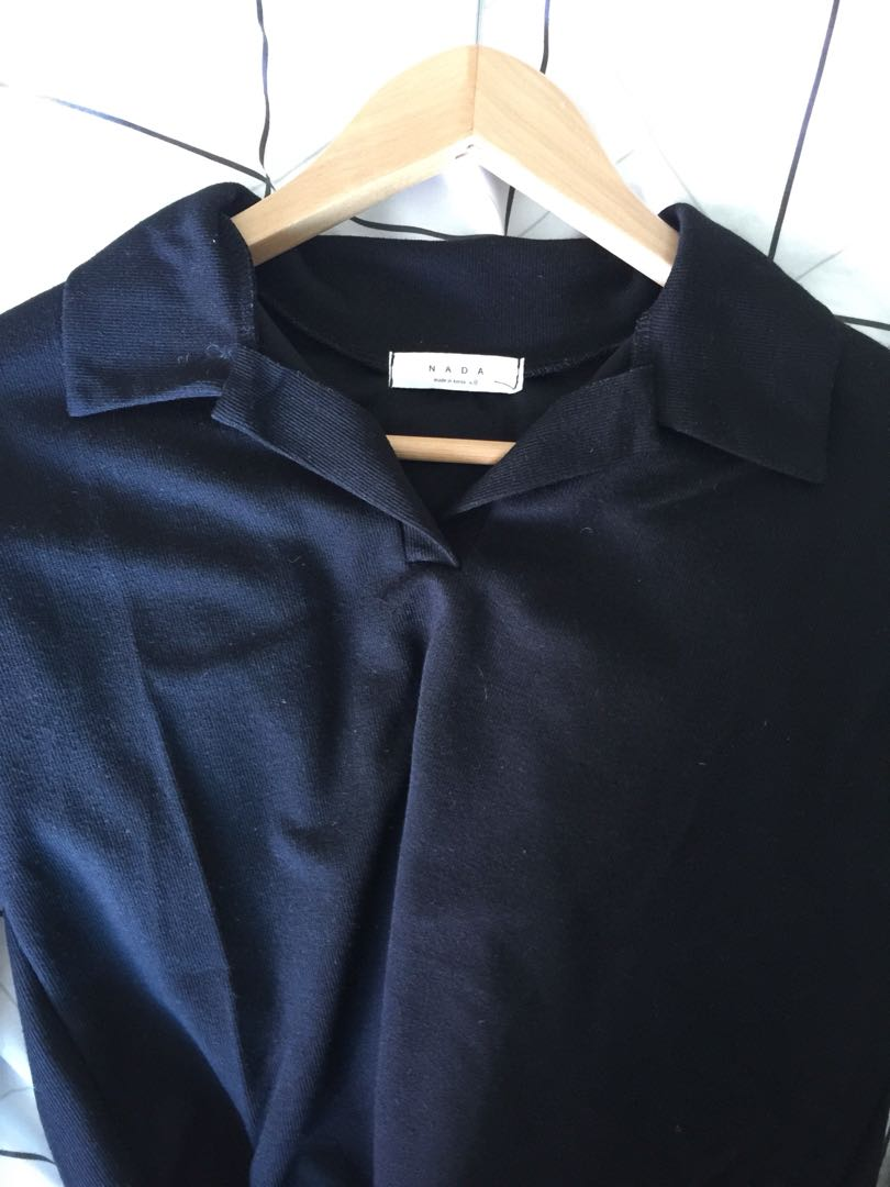 Korean Black V neck shirt