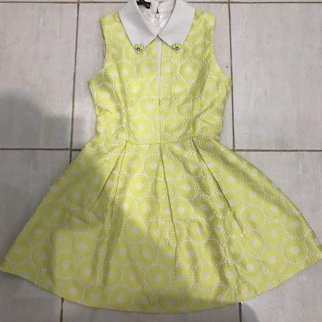 Kuning dress yellow collar