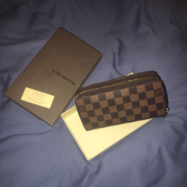 Lv design double zip wallet
