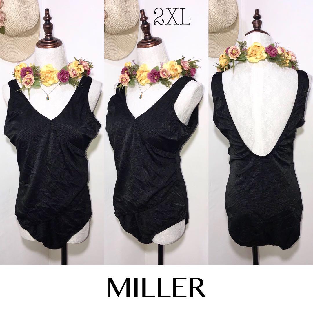 Miller Swimwear Branded Black One Piece Swimsuit FO47