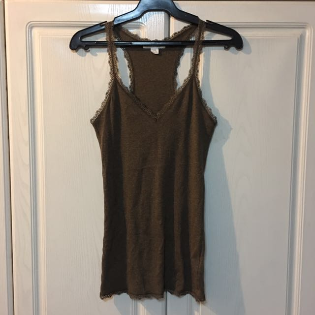 NEW! F21 Ribbed Brown Lace Tank Top