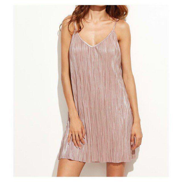 Nude Metallic Slip Dress