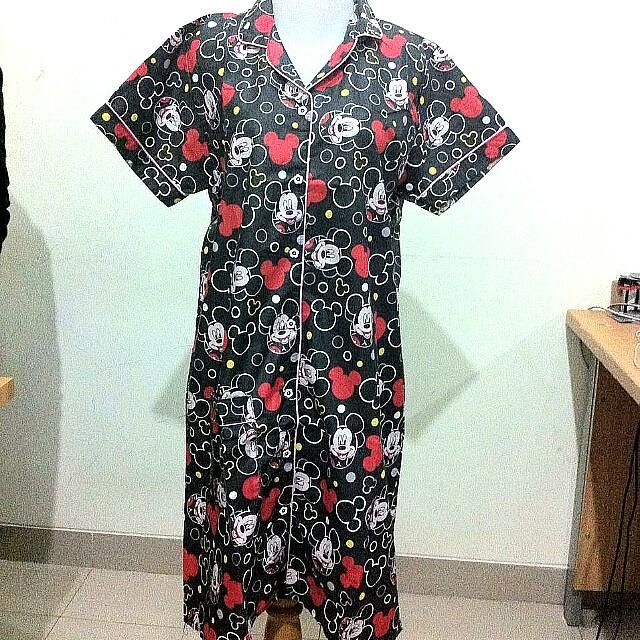 Piyama Dress Mickey Merah Hitam