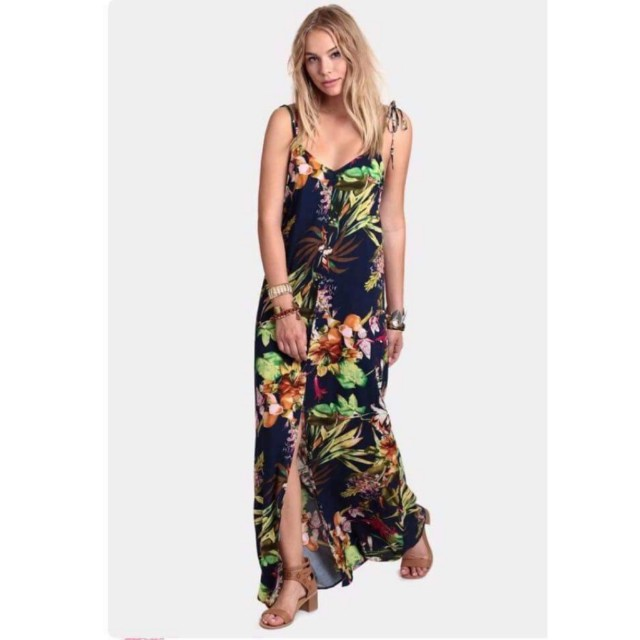 Printed Nonsleeves Long Dress