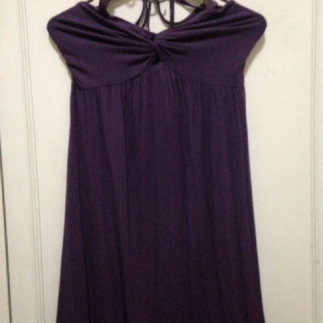 Purple spaghetti haltered dress