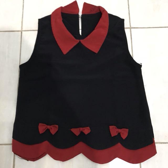 Red black hitam merah pita shirt