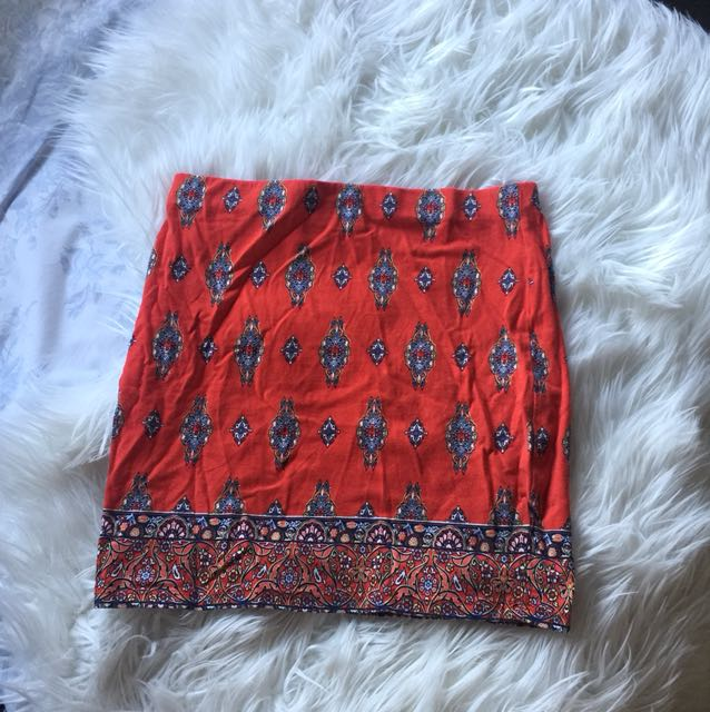 Red stretchy paisley mini skirt