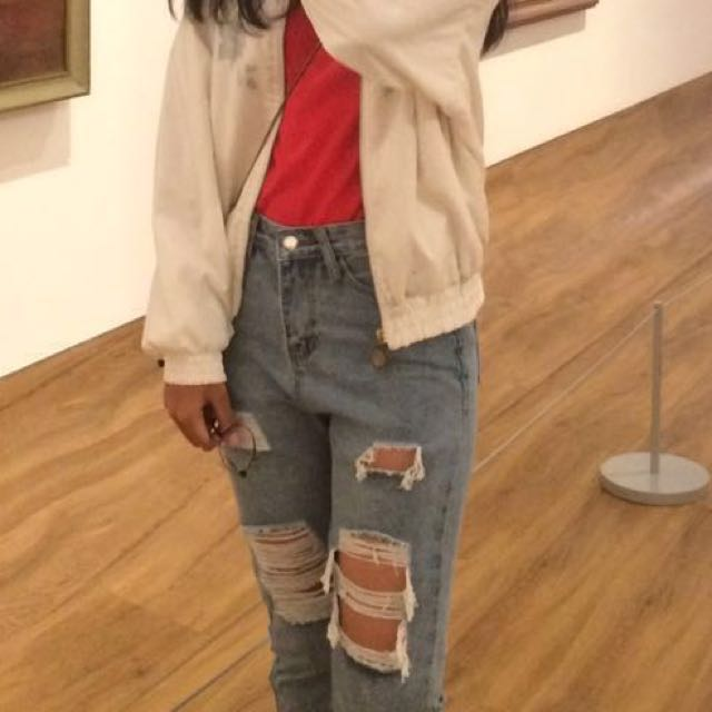 REPRICE! ripped high waisted mom jeans