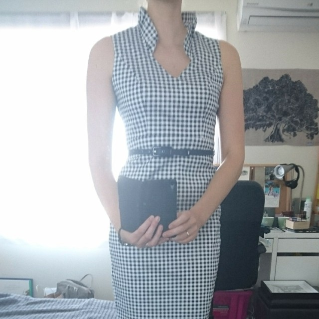 Review navy check dress