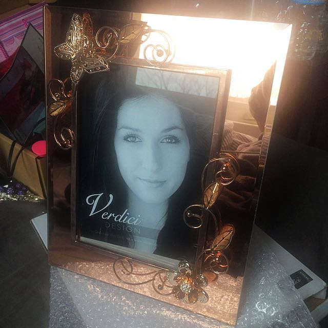 Rose Gold Mirrored Photo Frame In Box