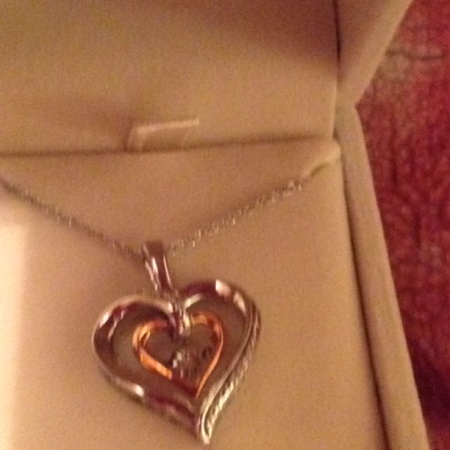 Silver dual tone heart necklace and pendant