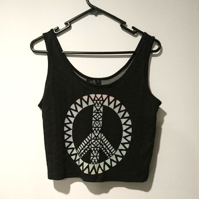 Topshop peace crop top