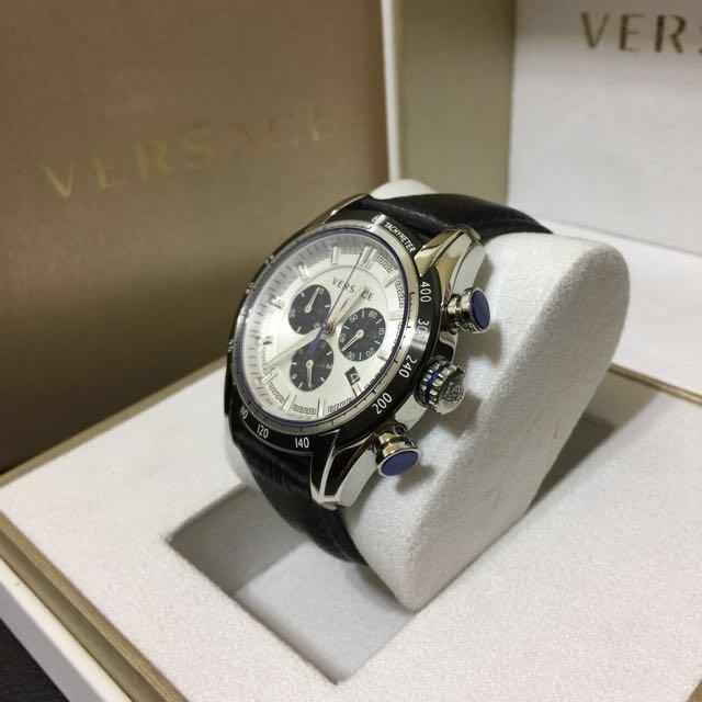 Versace V-Ray 三眼 皮帶 錶 凡賽斯 保證正品