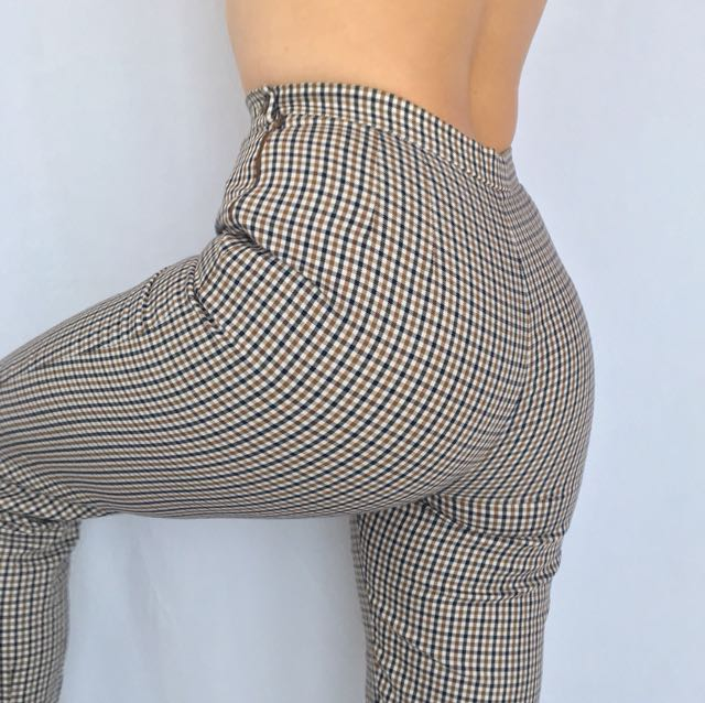 Vintage Gingham Plaid Pants